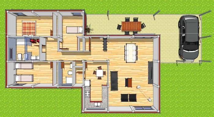 Hacemos planos de casas modulares for Modelos de casas de 3 dormitorios